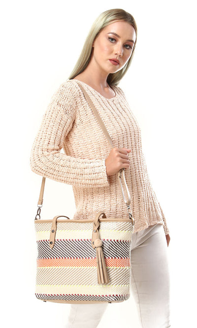 45979 Summer Fashionable Straw Shoulderbag - Multicolour - Ravin