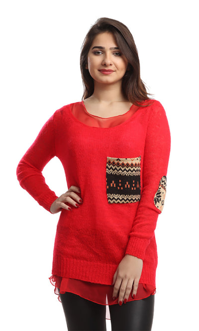 46502 Patterned Slip On Pullover - Red