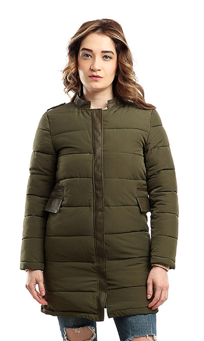 46507 Zipped Casual Long Sleeves Jacket - Olive