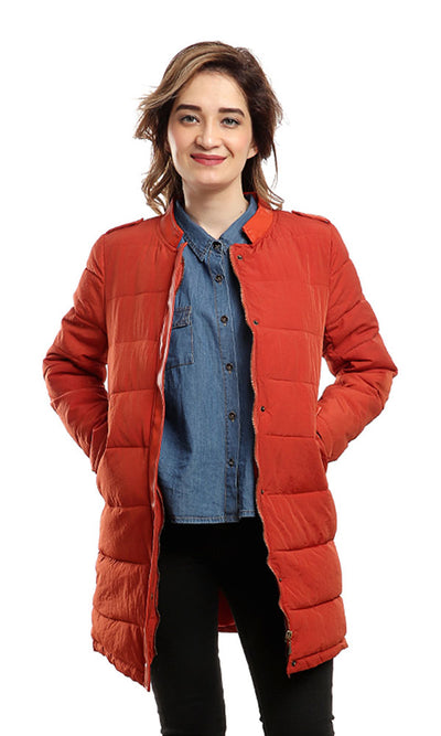 46508 Magnetic Buttoned Long Sleeves Jacket - Dark Orange