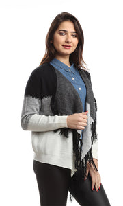 46536 Striped Winter Casual Cardigan - Grey, White & Black
