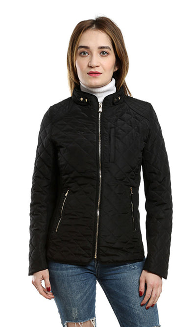 46539 Slim Fit Women's Paterned Black Zipper Jacket