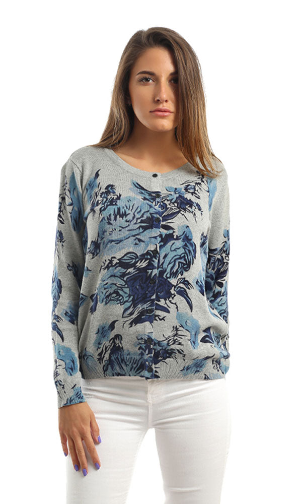 Floral Buttoned Full Sleeves Cardigan - Blue & Grey