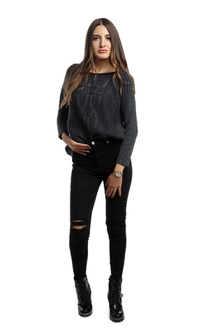46550 Rounded Casual Pullover - Dark Grey