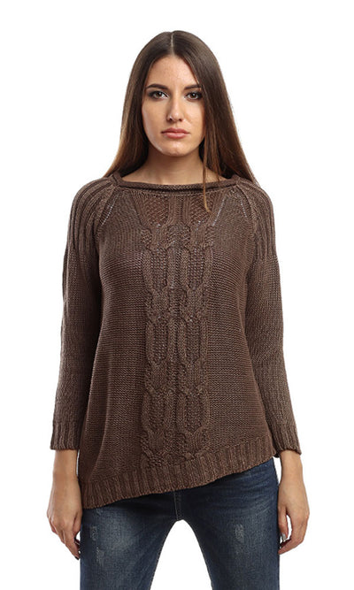 46551 Rounded Casual Pullover - Brown