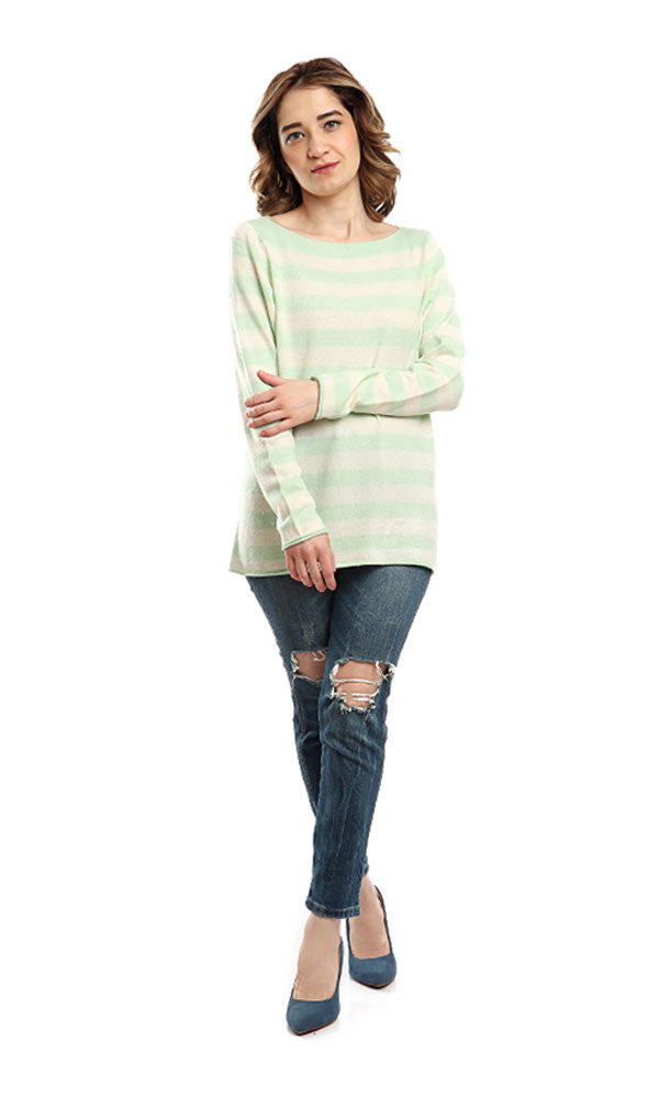 Striped Full Sleeves Pullover - Light Green