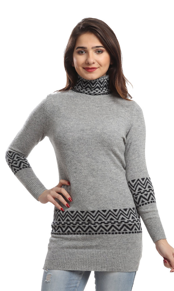 High Neck Long Pullover - Gray