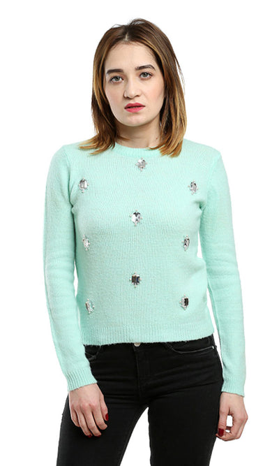 46567 Strassed Rounded Pullover - Light Green