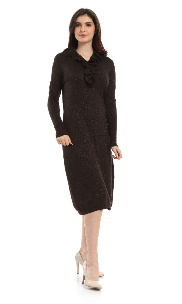 Fitted Dress-Ruffled Buttons Neck-Button Collar-Long Cuff Sleeves