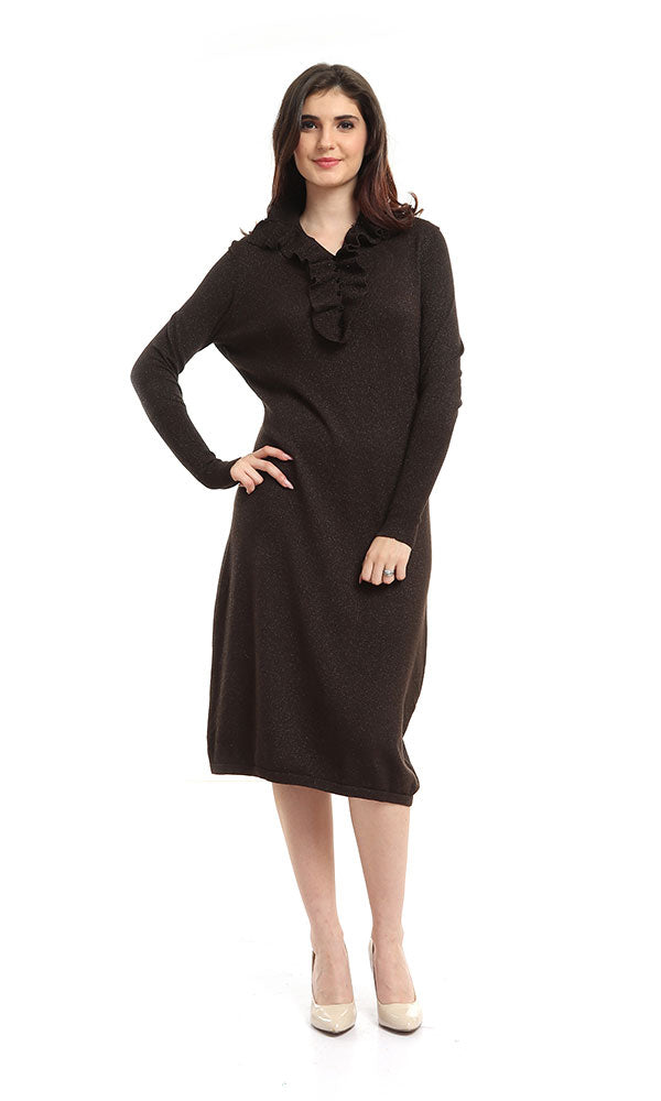 Fitted Dress- Ruffled Buttons Neck-Button Collar-Long Cuff Sleeves