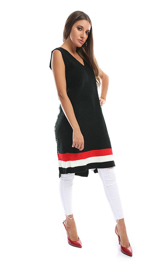 46570 Sleeveless Slip On Tunic Pullover With Side Buttons - Black