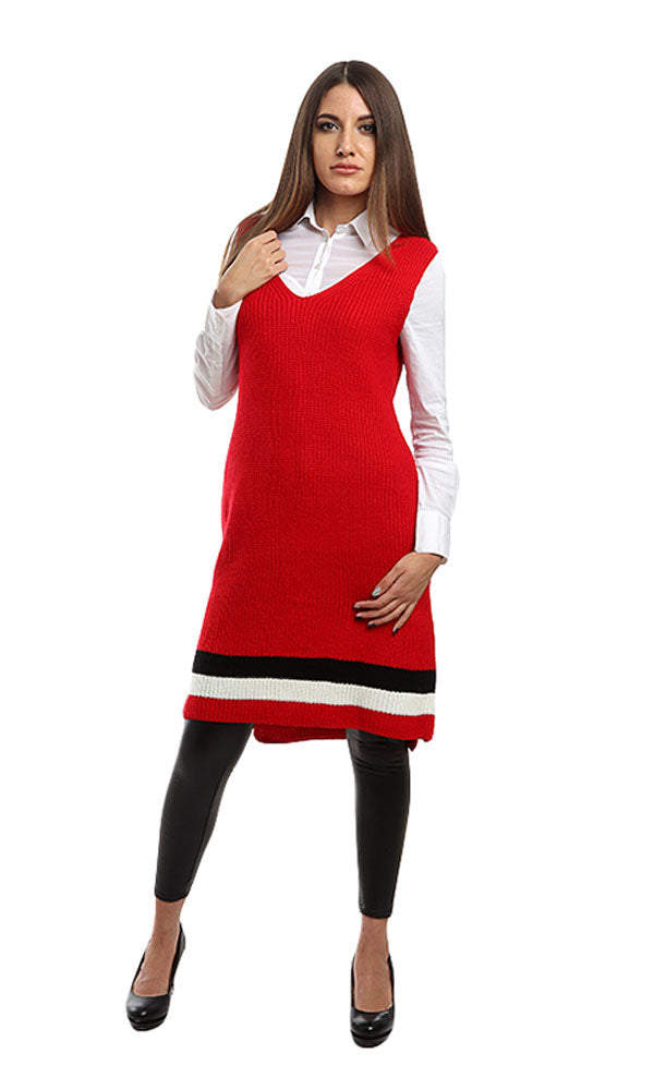 slip on sleeves long vest - red
