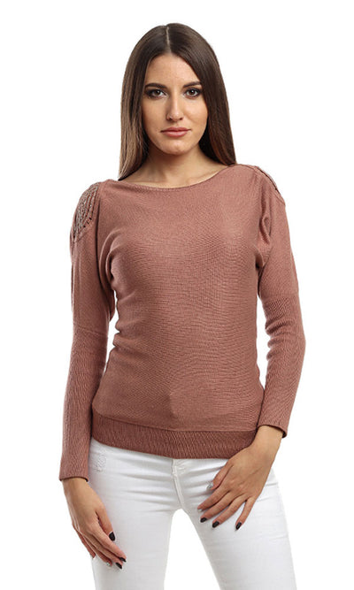 46572 Decorated Sleeves Heavy Pullover - Coffe