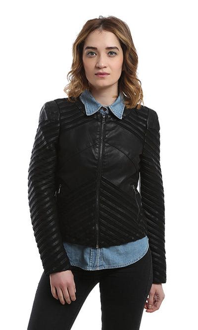 46599 Zipped Leather Jacket - Black