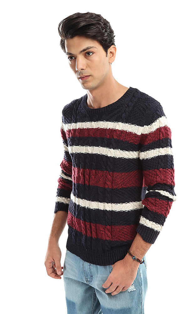Striped Long Sleeves Pullover - Navy Blue & Red & White