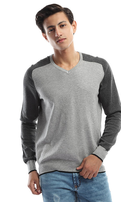 46616 Bi-Tone Long Sleeves Men's Pullover - Light Grey & Grey