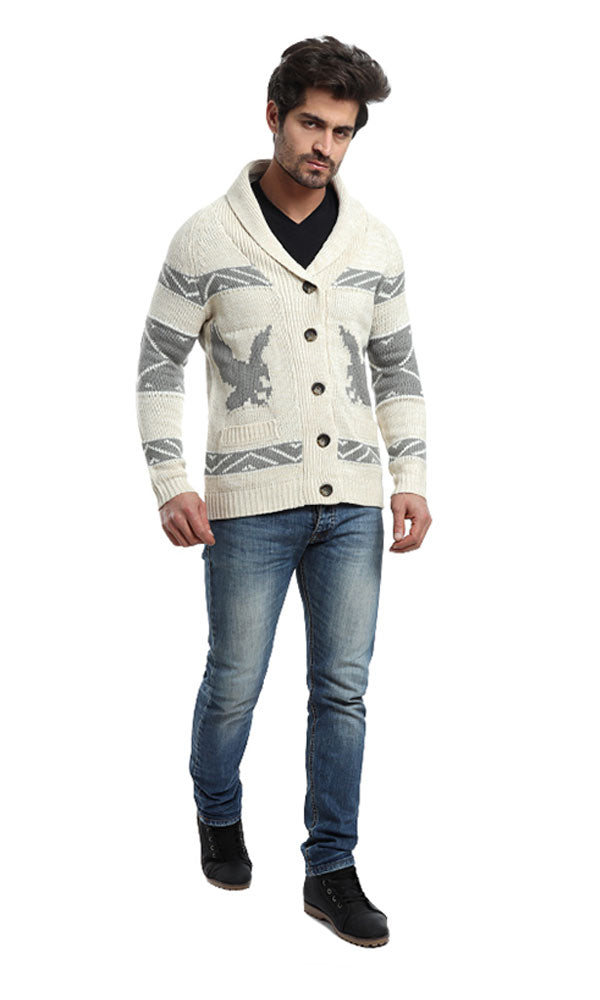 Patterned Casual Cardigan - Off White & Grey