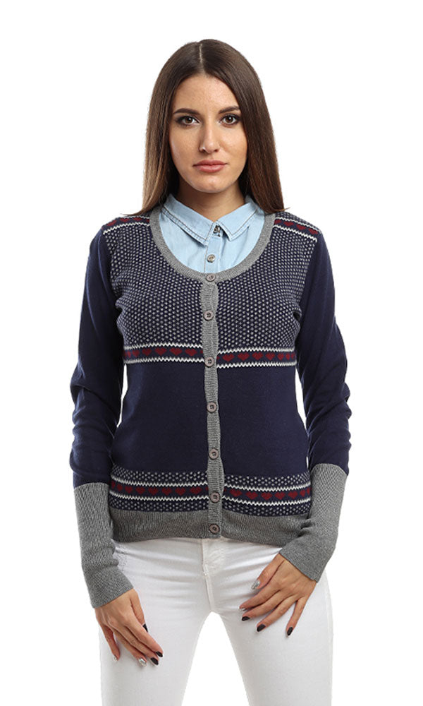 Patterned Casual Cardigan - Navy Blue