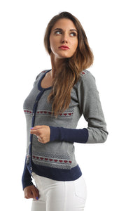 46637 Patterned Casual Cardigan - Grey