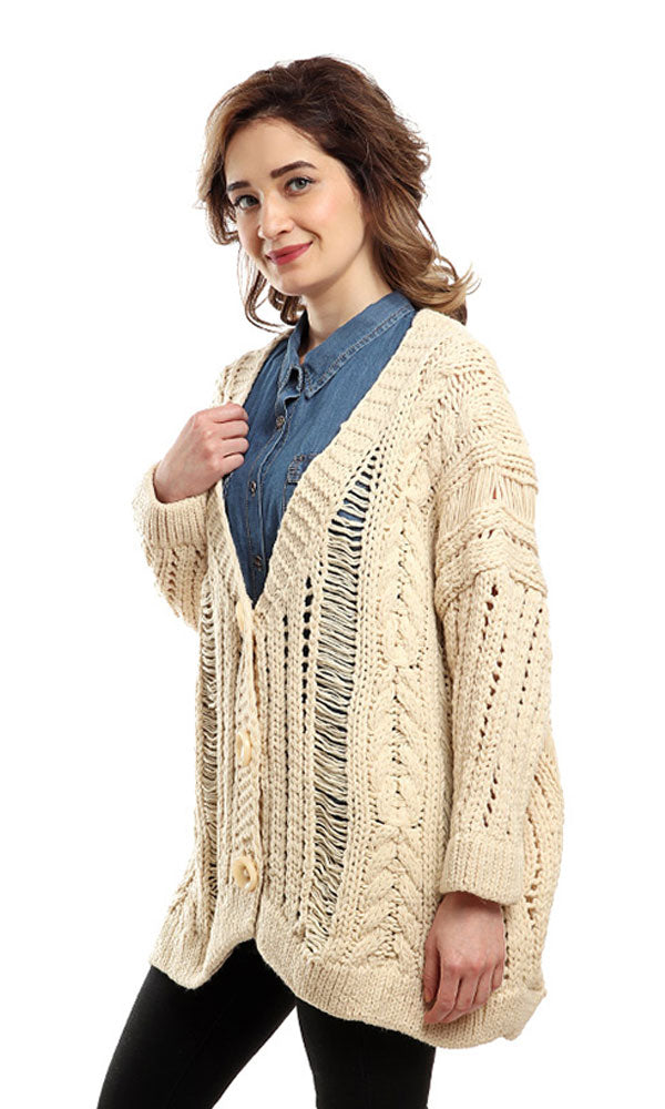 Long Sleeves Buttoned Cardigan - Off White