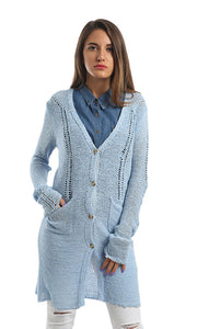 46649 Buttoned Plain Cardigan - Light Blue