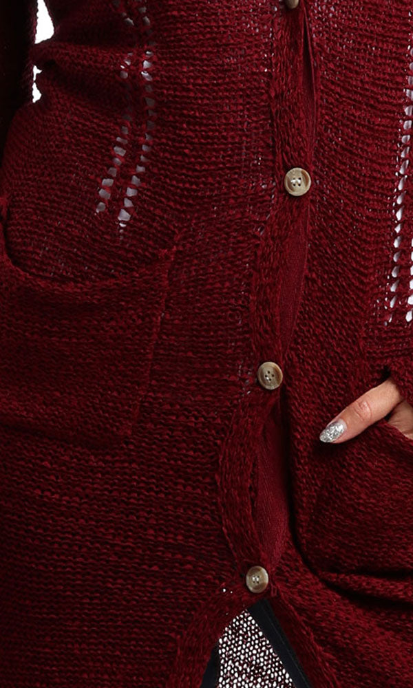 Casual Buttoned Cardigan - Burgundy