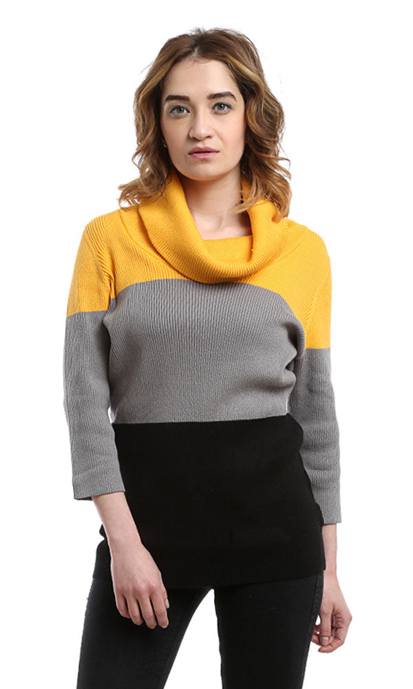 Turtle Neck Pullover - Yellow & Black