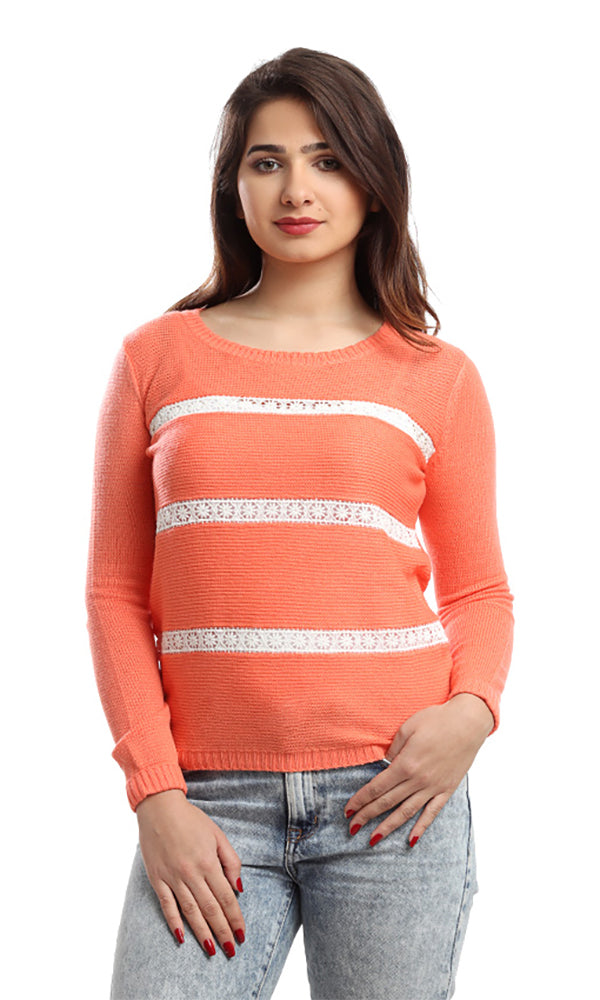 Lace Decorated Pullover - Orange