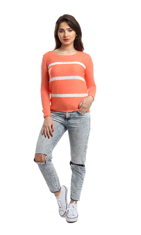46661 Lace Decorated Pullover - Orange