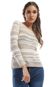 46671 Striped Cropped Pullover With Back Slits - Beige & Off White