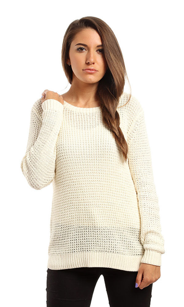 high low sweater-long sleeves-deep round neck