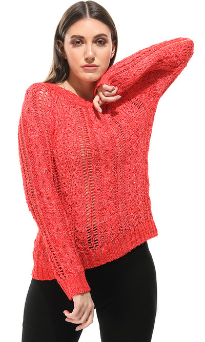 46680 Perforated Knit Long Sleeves Red Pullover