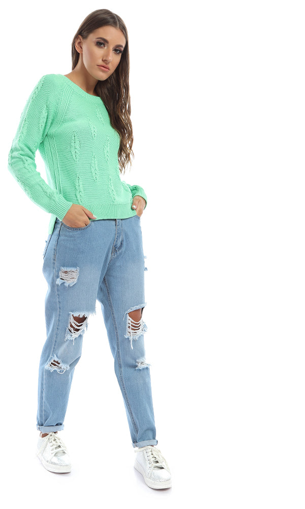 46681 Plain Rounded Casual Pullover - Light Green