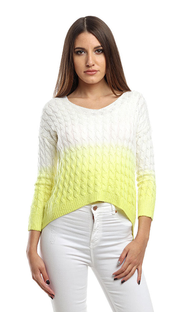 Casual Cropped Pullover - Light Yellow & White