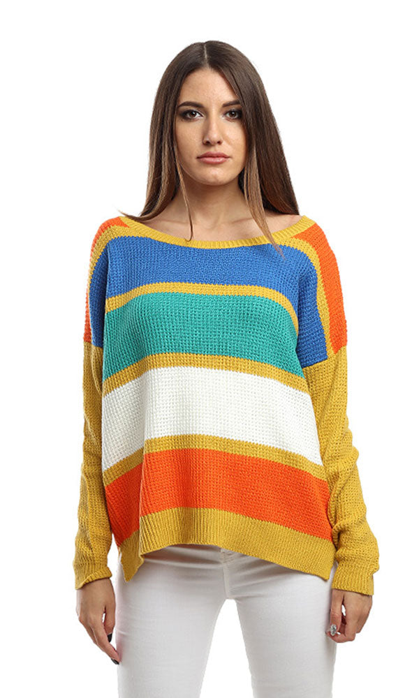 Striped Sweater-Long Sleeves-Deep Round Neck