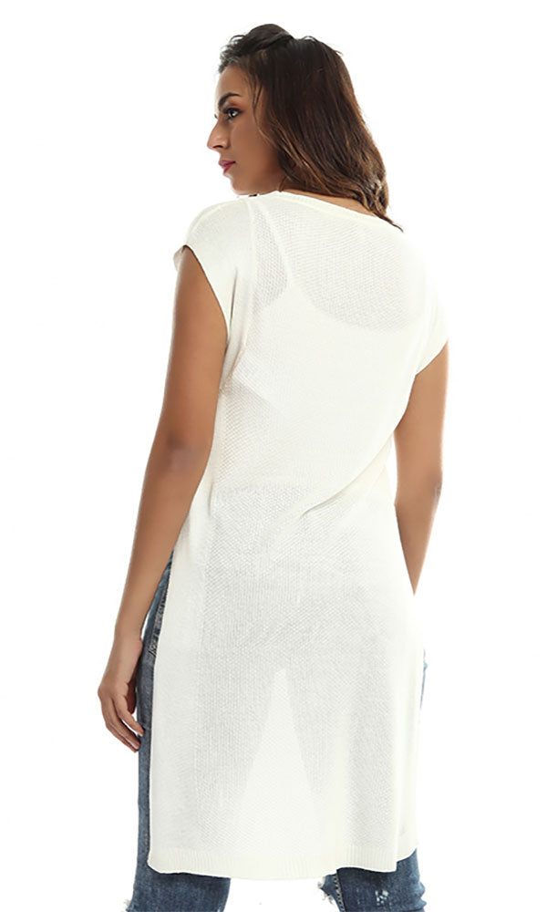 46725 Sleeveless Long Top - Off White