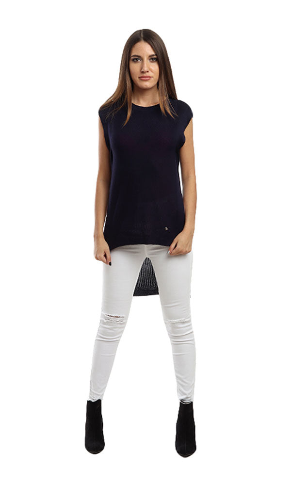 Sleeveless Solid Top - Navy Blue