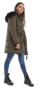 46729 Boutique Oversized Padded Olive Green Coat With Fur Hoodie