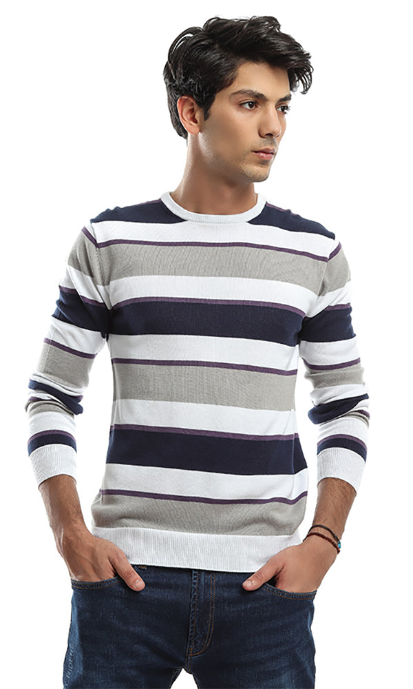 Striped Long Sleeves Pullover - Grey & White