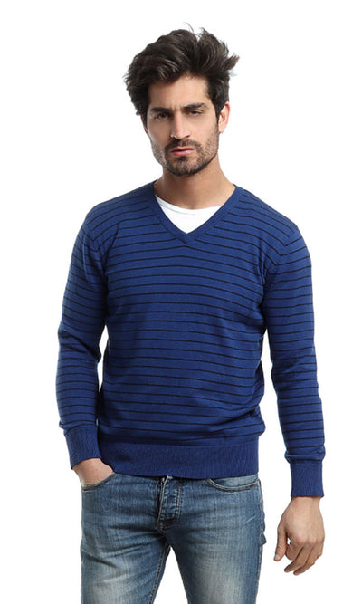 46737 V-Neck Casual Striped Pullover - Blue