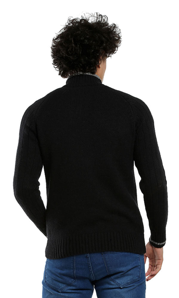 Zipped Collar Casual Pullover - Black
