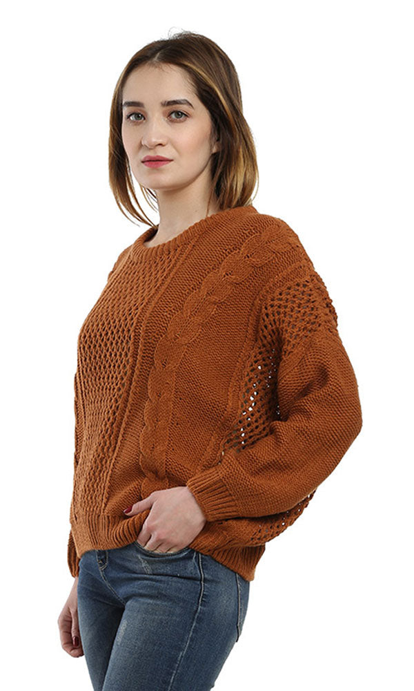 Crochet Casual Cropped Pullover - Dark Orange