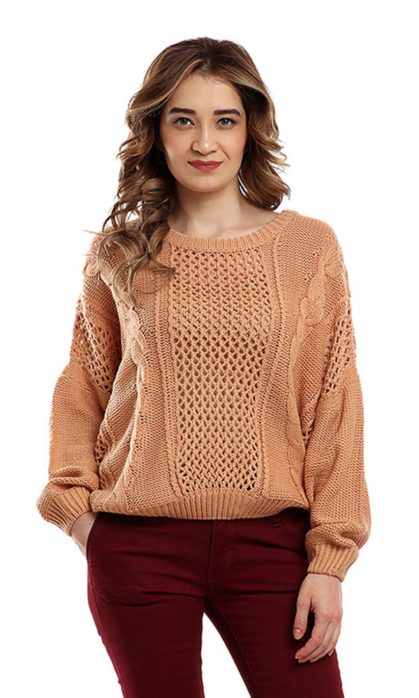 Rounded Long Sleeves Pullover - Rose Gold