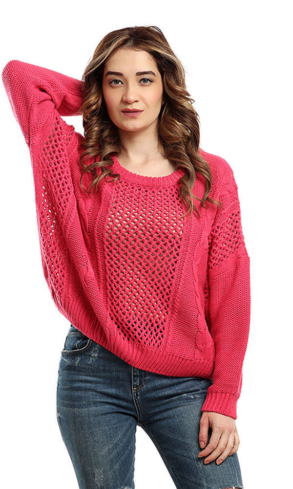rounded solid pullover - fuchsia