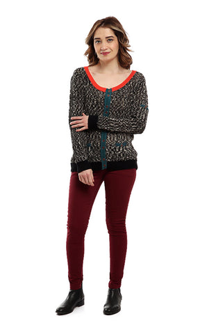 46775 Patterned Buttoned Full Sleeves Cardigan - Heather Black