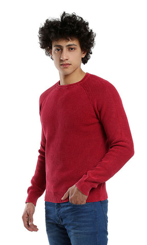46777 Rounded Casual Full Sleeves Pullover - Watermelon
