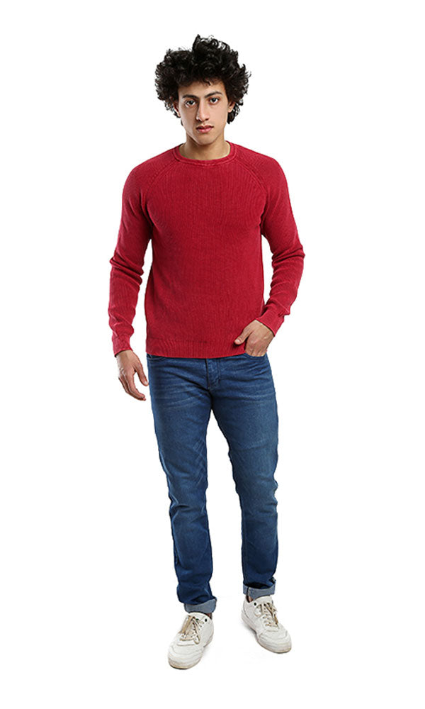 Rounded Casual Full Sleeves Pullover - Watermelon