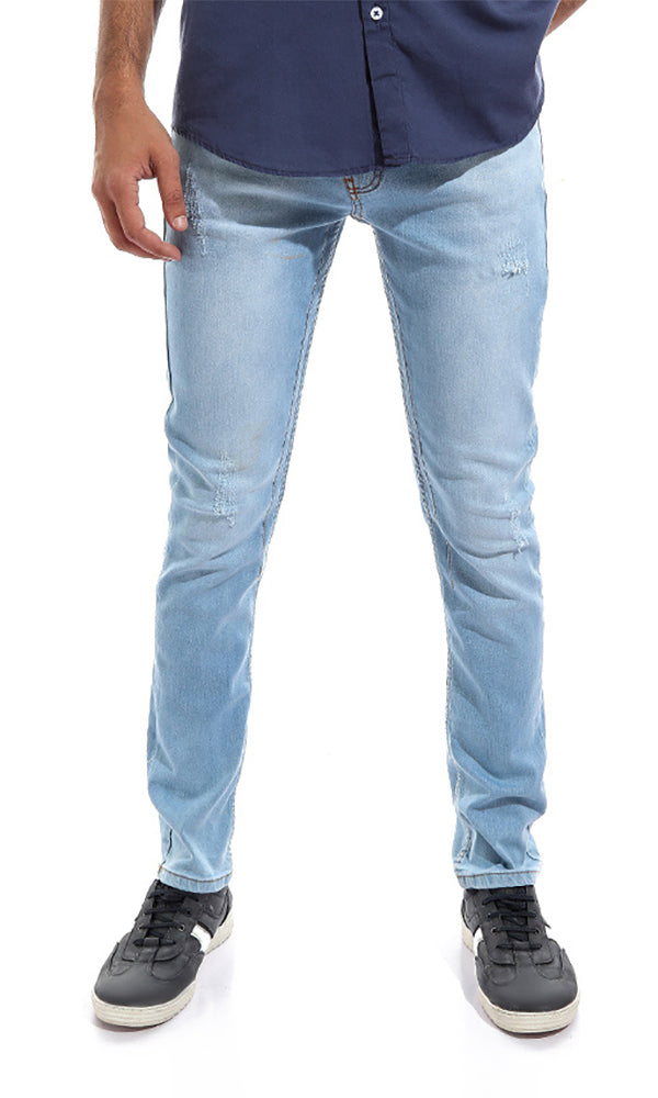 Ribbed Men Jeans - Light Blue
