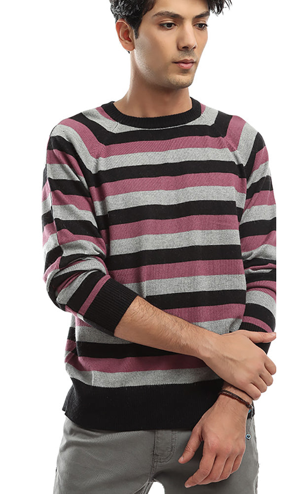 Long Sleeves Striped Pullover - Purple