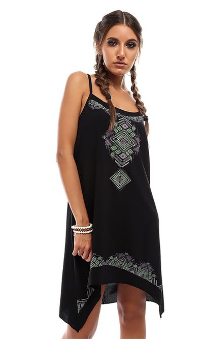 47010 Decorated Sleeveless Short Dress - Black